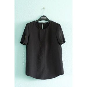 Zara   Boxy Zip-Sleeve Blouse